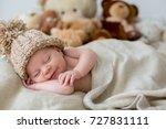 little newborn baby boy ... | Shutterstock . vector #727831111