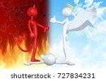 thumbs down devil thumbs up... | Shutterstock . vector #727834231