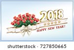 Stock vector date happy new year with a bouquet of roses and a ribbon with a bow on a light background in 727850665