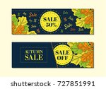 autumn sales banners for web or ... | Shutterstock .eps vector #727851991