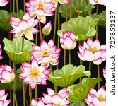 seamless pattern with lotus... | Shutterstock .eps vector #727853137