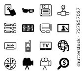 media icons set. set of 16... | Shutterstock .eps vector #727857037