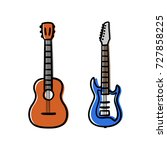 acoustic and electric guitars...   Shutterstock .eps vector #727858225