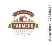 farmers market logo template... | Shutterstock .eps vector #727858234