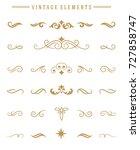 vintage ornaments set floral... | Shutterstock .eps vector #727858747