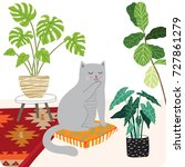 cute cat and plants illustration | Shutterstock .eps vector #727861279