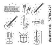 music icons  line art set ... | Shutterstock .eps vector #727862629