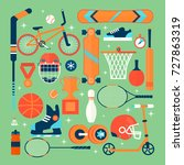 set of colorful sport icons... | Shutterstock .eps vector #727863319