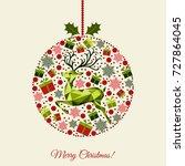 patterned christmas ball. happy ...   Shutterstock .eps vector #727864045