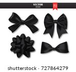 set of black gift bows with... | Shutterstock .eps vector #727864279