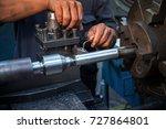 close up hand  heavy industrial ... | Shutterstock . vector #727864801