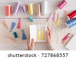 handmade earrings packing  home ... | Shutterstock . vector #727868557