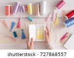 handmade earrings packing  home ... | Shutterstock . vector #727868557