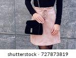 trendy girl wear pink suede... | Shutterstock . vector #727873819