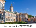 Small photo of The monastery grounds of the Saint Alexander Nevsky Lavra or Alexander Nevsky Monastery with the metropolitan buildings and the baroque church of the Holy Prince Fyodor in Saint Petersburg, Russia.