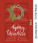 christmas greeting card with... | Shutterstock .eps vector #727879624