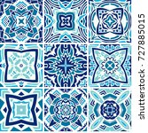 set of oriental blue and white... | Shutterstock . vector #727885015