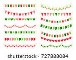 colorful garlands with flags.... | Shutterstock .eps vector #727888084