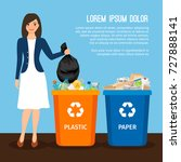 woman with trash vector... | Shutterstock .eps vector #727888141