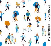 seamless pattern with walking... | Shutterstock .eps vector #727888324