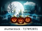 halloween background. pumpkins... | Shutterstock .eps vector #727892851