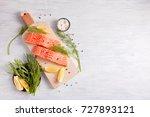 fresh organic salmon ready for... | Shutterstock . vector #727893121