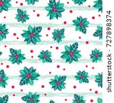 vector holly berry grunge...   Shutterstock .eps vector #727898374