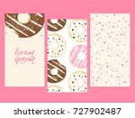 set of color donuts card.... | Shutterstock .eps vector #727902487