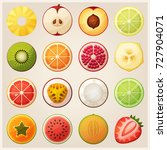 set of fruit halves. slices of... | Shutterstock . vector #727904071