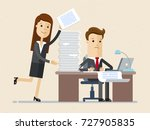 business man work on the... | Shutterstock .eps vector #727905835
