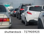 traffic jam with row of cars on ... | Shutterstock . vector #727905925