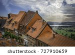 a street of old german houses... | Shutterstock . vector #727910659