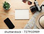 top view of travel accessories... | Shutterstock . vector #727910989