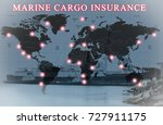 world map and ships in sea port ... | Shutterstock . vector #727911175