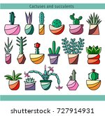 set of cactus and succulents in ... | Shutterstock .eps vector #727914931