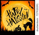 happy halloween card.... | Shutterstock .eps vector #727920391