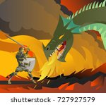 knight fighting a dragon | Shutterstock .eps vector #727927579