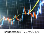 Small photo of Stock diagram on the screen. Display of quotes pricing graph visualization. Stock market chart, graph on blue background. Shallow DOF. Stock market graph on the screen.