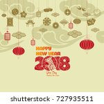 oriental happy chinese new year ... | Shutterstock .eps vector #727935511
