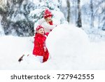 children build snowman. kids... | Shutterstock . vector #727942555