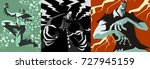 creepy monsters posters | Shutterstock .eps vector #727945159