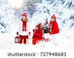 children with christmas tree on ... | Shutterstock . vector #727948681