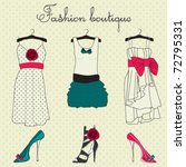 fashion boutique set  stylized... | Shutterstock .eps vector #72795331