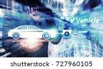 ev car  electric car in hand... | Shutterstock . vector #727960105