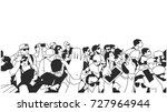 stylized drawing of party crowd ...   Shutterstock .eps vector #727964944