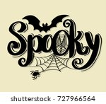 spooky lettering design with... | Shutterstock .eps vector #727966564