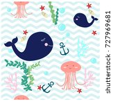 seamless pattern cute adorable... | Shutterstock .eps vector #727969681