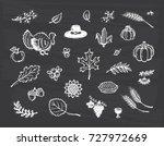 thanksgiving icon vector set.... | Shutterstock .eps vector #727972669