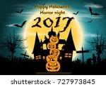 pumpkins   happy halloween... | Shutterstock .eps vector #727973845