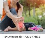 soft focus woman massaging her... | Shutterstock . vector #727977811